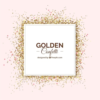 Golden confetti background in realistic style