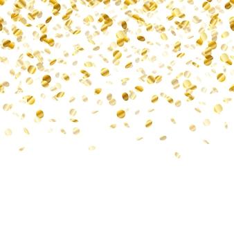 Золотой фон конфетти. бесшовные горизонтальный узор. металлическая фольга.
