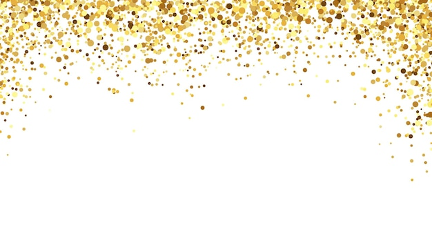 Golden confetti background. sparkling and shiny tinsel decoration for event celebration. bright festive pieces falling from above for birthday greeting, invitation cards vector illustration