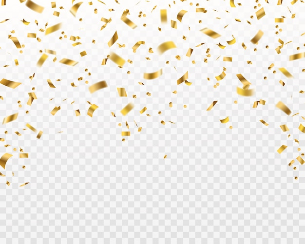 Golden confetti. falling gold foil ribbons, flying yellow glitter. christmas holiday and anniversary party  isolated rich celebrate texture