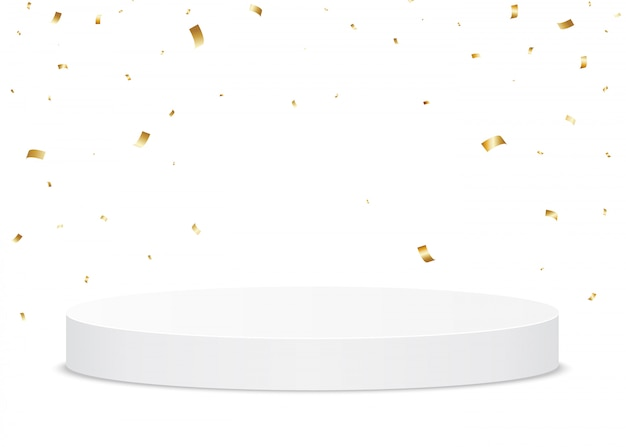Golden confetti falling on a white podium. holiday stand or trophy ground for the winner.