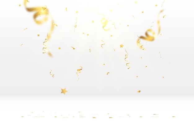 Golden confetti falls on a beautiful background falling streamers on stage