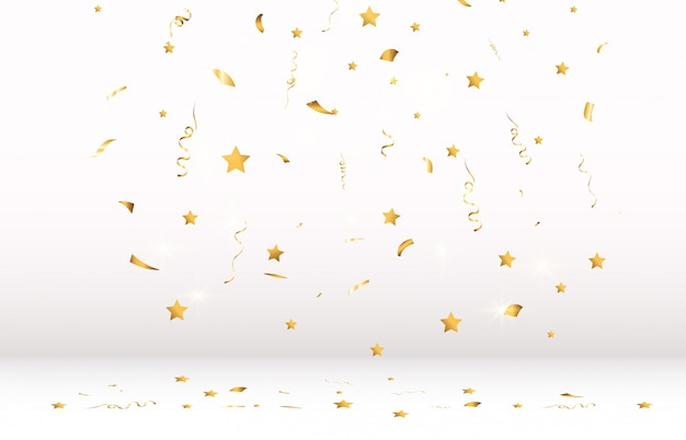 Golden confetti falls on a beautiful background. falling streamers on stage.