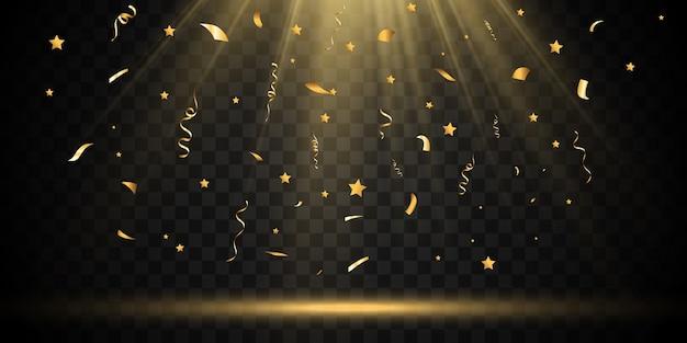 황금 색종이 아름다운 배경에 빠진다. 무대에서 떨어지는 깃발.