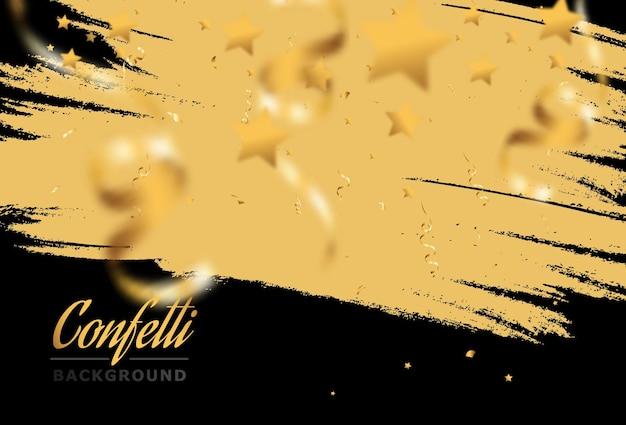황금 색종이 아름다운 배경에 떨어진다. 무대에서 떨어지는 깃발.