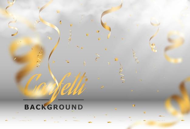 金色の紙吹雪が美しい背景に落ちるステージにストリーマーが落ちる