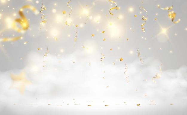 金色の紙吹雪が美しい背景に落ちるステージに落ちるストリーマー
