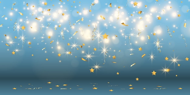 Золотое конфетти падает на красивый фон. падающие растяжки на сцене.