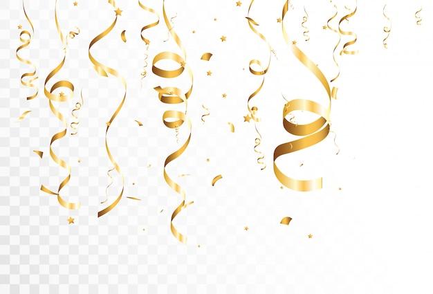 Золотое конфетти падает на красивый фон. падающие ленты на сцене.
