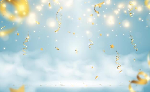 金色の紙吹雪が落ちる