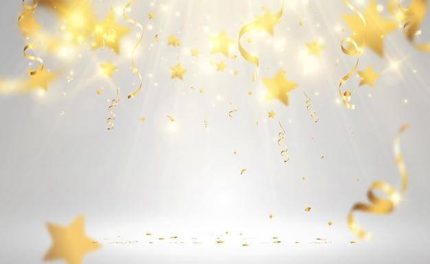 Золотое конфетти падает