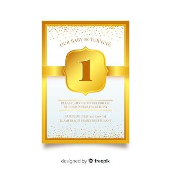 Modello di carta di primo compleanno coriandoli d'oro