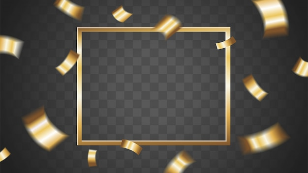 Golden confetti and gold frame template banner with empty space in the center