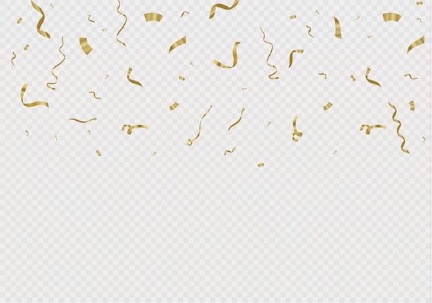 Golden confetti, isolated on cellular background