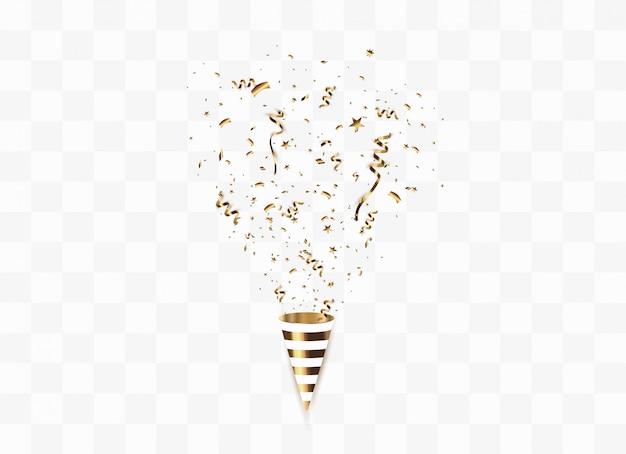 Золотое конфетти изолированы. праздничная иллюстрация