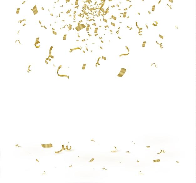 セルラーバックグラウンドで分離された黄金の紙吹雪。お祝いのイラスト白い背景の上のリボンと小さな紙吹雪。お祝いのイベントやパーティー。黄。