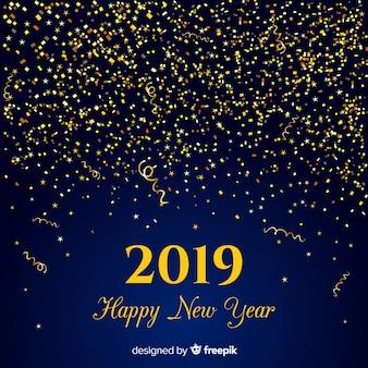 Golden confetti new year background