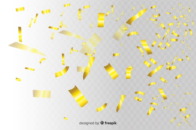 Golden confetti slices falling background