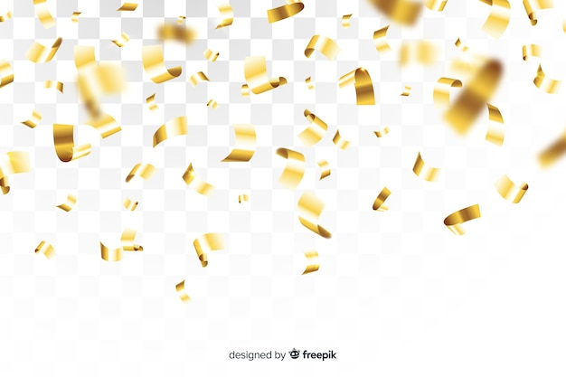 Golden confetti on transparent background