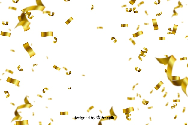 Golden confetti on white background