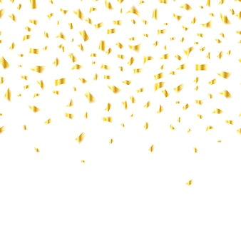 Golden confetti on white