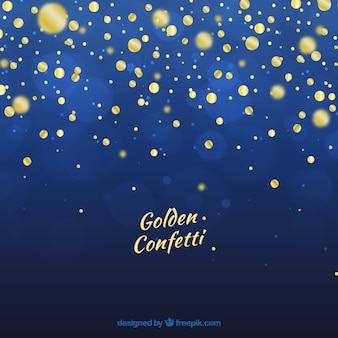 Golden confetti with blue background