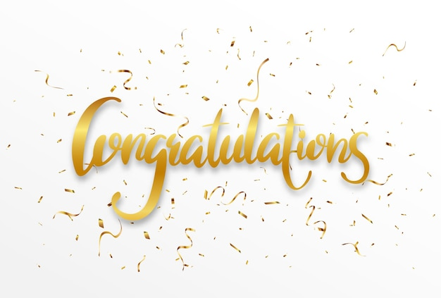 Golden congratulations sign letters banner with confetti