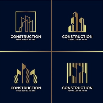 Golden construction logo collection, building, gold, architect, modern, abstract,