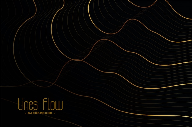 Golden contour lines on black background