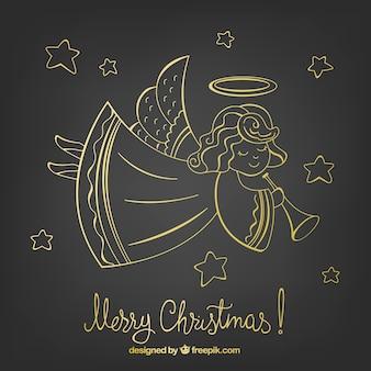 Золотой контур рождественского ангела