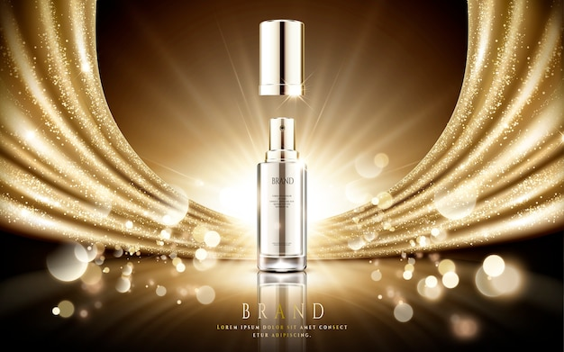 黄金の化粧品の広告、輝くゴールドのサテンと図の背景の粒子のボケ味を持つエレガントなシルバースプレーボトル