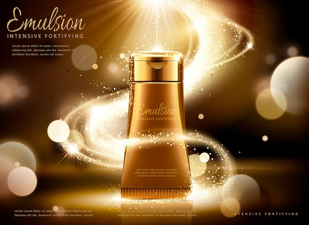 Golden cosmetic tube ads, bronze tube with glittering light and bokeh background in  illustration