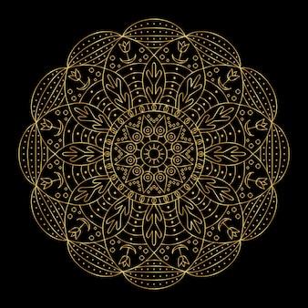 Golden creative indian mandala