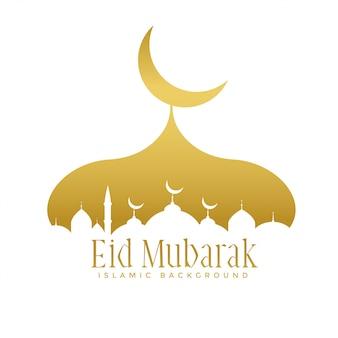 Golden creative mosque design for eid mubarak festival
