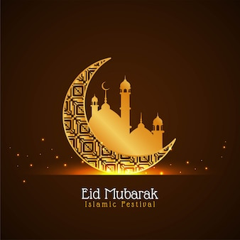 Golden crescent moon eid mubarak background