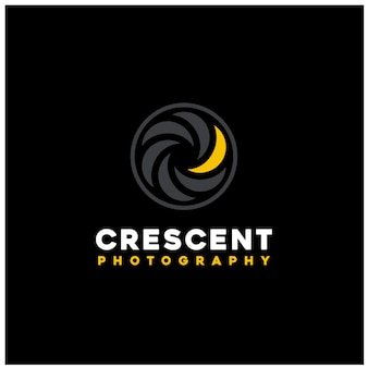 Golden crescent moon light with shutter lens for photo photography logo design
