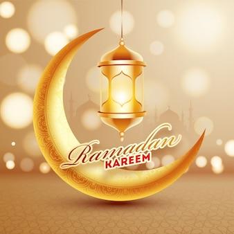 Golden crescent moon with illuminated lantern on bokeh effect