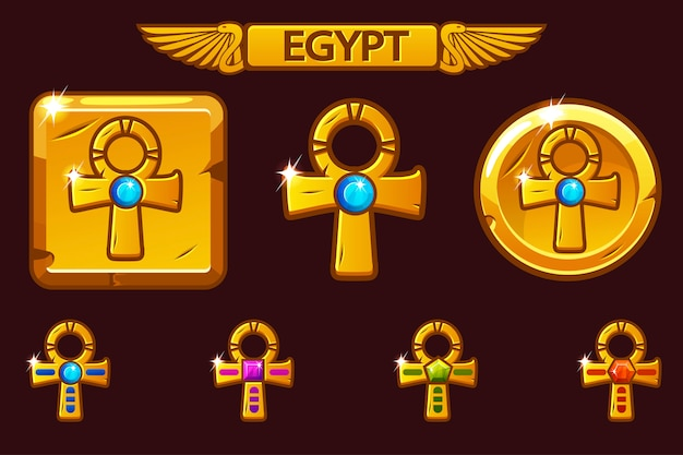 Golden cross ankh with colored precious gems. egyptian icons