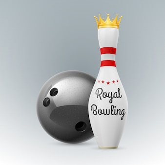 Золотая корона на белых кеглях на белом фоне. шар для боулинга