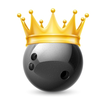 Golden crown on ball for bowling