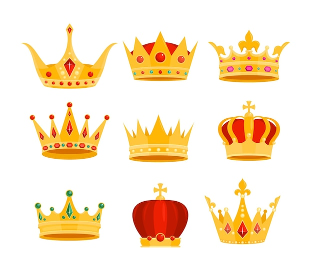 Golden crown cartoon flat gold royal medieval collection of monarchy symbols, crown on head for king