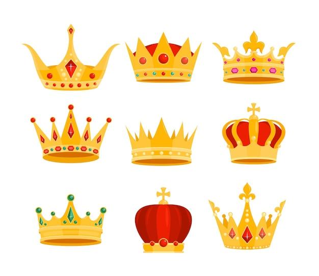 황금 왕관 군주제 상징의 만화 플랫 골드 왕실 중세 컬렉션, 왕을위한 머리에 왕관