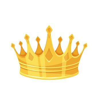 황금 왕관. 1 위 우승자, 왕실 황금 보석 및 부. 황금 승리 첫 번째 장소 만화 스타일의 고립 된 벡터 아이콘입니다.