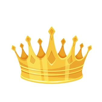 Golden crown. first place winner, royal golden jewelry and wealth. isolated vector icon of golden triumph first place cartoon style.