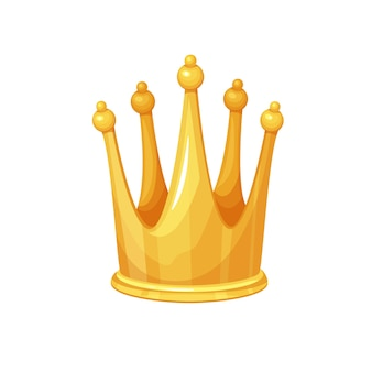 Golden crown. first place winner, royal high golden jewelry, wealth. isolated vector icon of golden award first place cartoon style.