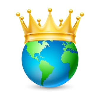 Golden crown on the globe