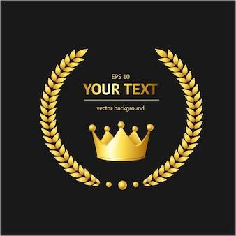 黒に分離された黄金の王冠