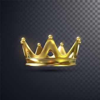 透明な背景に分離された黄金の王冠。リアルなイラスト。君主制の標識です。