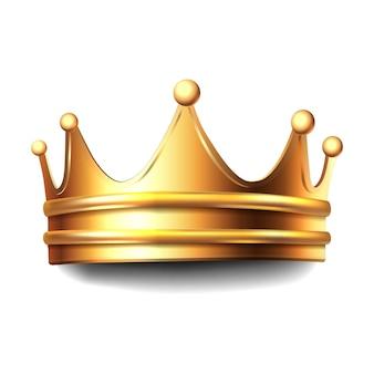 黄金の王冠。白い背景のアイコンイラストを分離しました。
