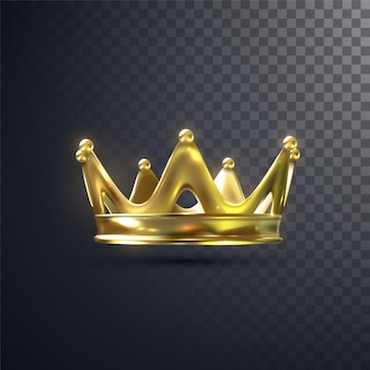 Golden crown isolated on transparent background. realistic   illustration. monarchy sign.